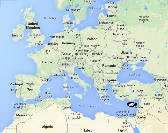 Se hvor Cypern er placeret i Middelhavet.